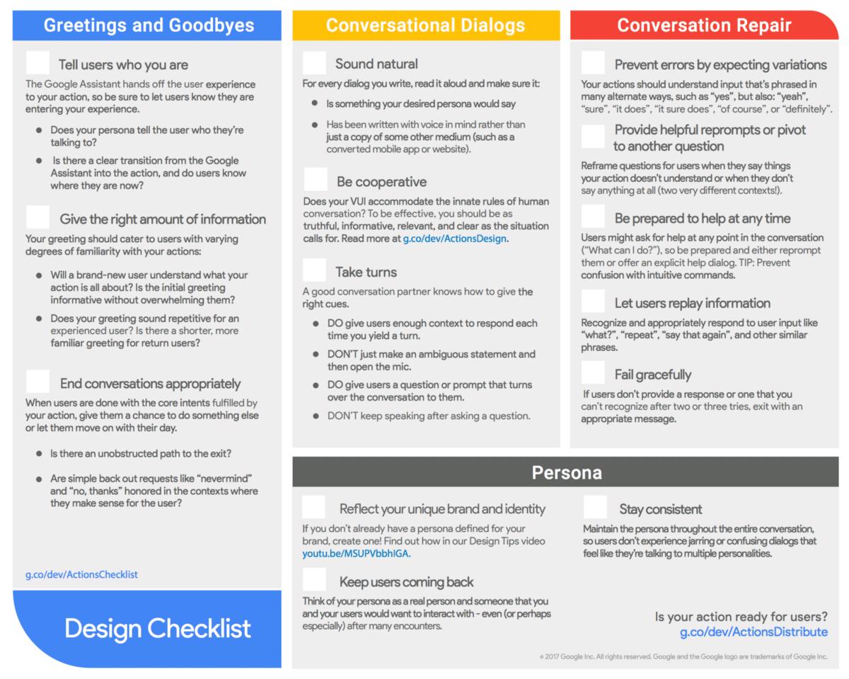 chatbot design checklist